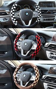 Suede Checker Patterns Steering Wheel Grip Cover For KIA Sedona Carnival 06 17