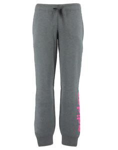 Dettagli su ADIDAS pantalone felpato da tuta grigio scuro con scritta rosa per donna ADIDAS