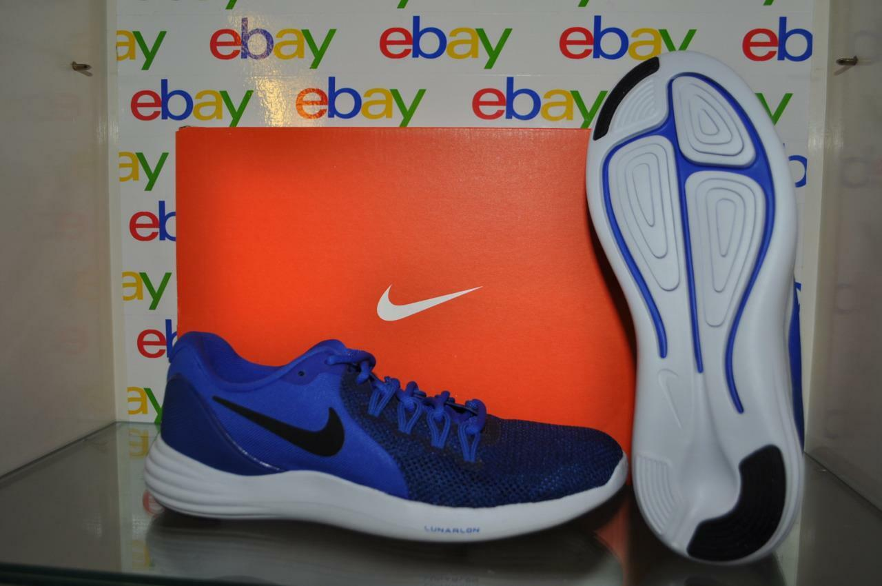 new style 03d31 04437 Nike Lunar Apparent Mens Running shoes shoes shoes 908987 401 bluee Black  White NIB f15fba