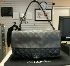 6e94593cc83584 CHANEL Black Leather Calfskin Multi Quilted Jumbo Flap A94239 Shoulder Bag