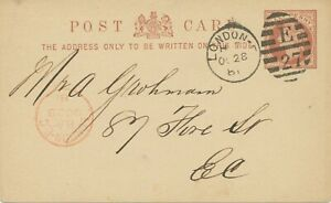 GB-1881-QV-1-2-d-brown-superb-thin-postcard-Duplex-cancel-034-LONDON-E-E-27-034