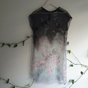 Ultra-Sheer-Chiffon-Crane-Floral-Japanese-Inspired-Shift-Dress-M-Black-Festival