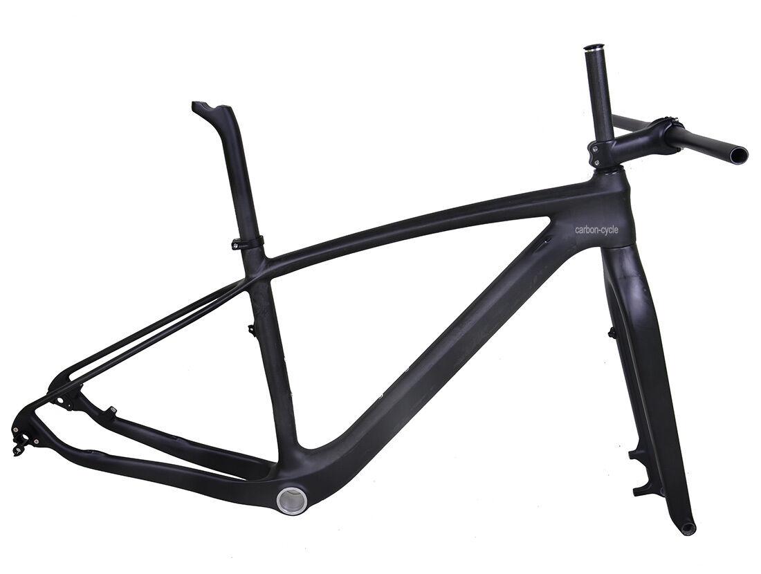 29er 19  de Carbono Mtb marco de la Bicicleta Horquilla manillar tallo Ud Matt 142 Eje Pasante Bsa