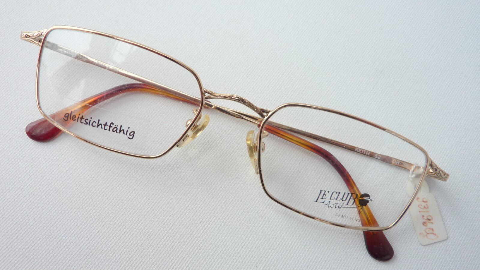 Le Club Actif Metallbrille Gold Herrengestell Brillenfassung 52-19 leicht Gr. L   Nutzen Sie Materialien voll aus