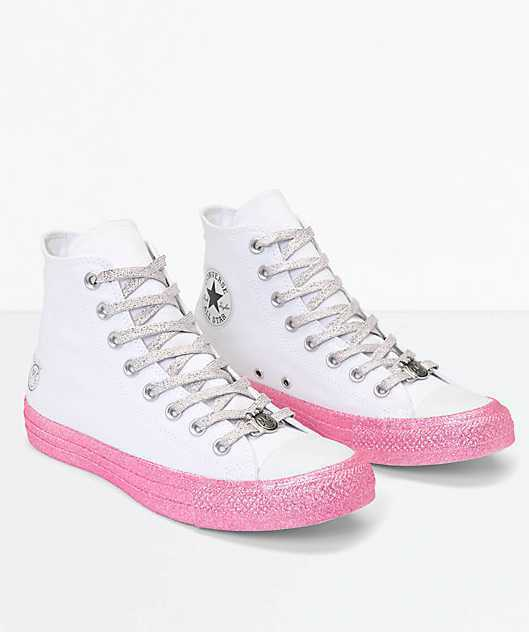 NEW WOMEN'S CONVERSE X MILEY CYRUS CTAS WHITE   PINK GLITTER HIGH TOP SHOES