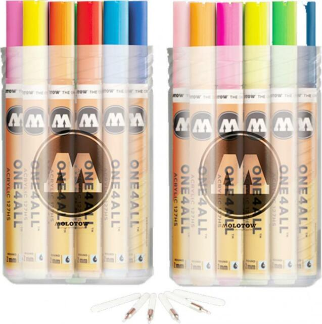 MOLOTOW ONE4ALL 127HS FULL RANGE ACRYLIC PAINT PENS 40 MARKERS AND NIBS