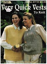 Leisure Arts Very Quick Vests To Knit Leaflet 2710 Patterns 1995 Darla Sims