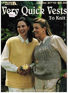 Leisure-Arts-Very-Quick-Vests-To-Knit-Leaflet-2710-Patterns-1995-Darla-Sims