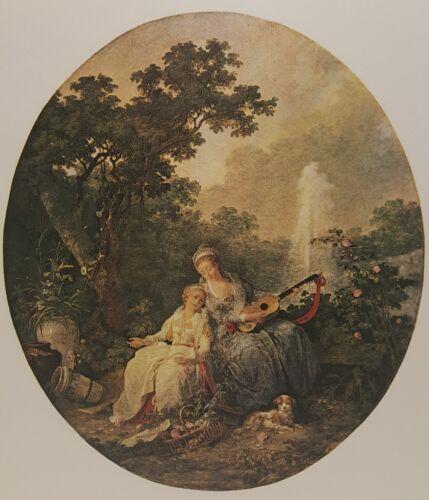 Vintage Lithograph Art Print Music Lesson Jean Baptiste Hilair France