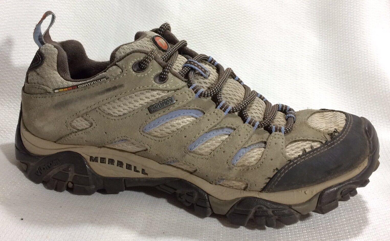 Merrell Moab J88796 Ventilator Waterproof Hiking Shoe J88796 Moab Wmn 8 M Beige Blue Leather aa66de