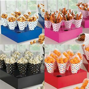 40 Snack Cones Party Tray Popcorn Chips Sweets Treat Cone