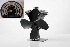 4-Blade-Heat-Powered-Stove-234-Fan-amp-FREE-Thermometer-Wood-amp-Coal-Fire-Burners