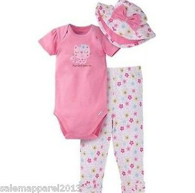 GERBER BABY GIRL 3-Piece Set Onesie, Pants and Cap Baby ...