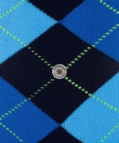 Burlington Homme Argyle Chaussettes 21020 King Marine Bleu Marine Mélange Coton Taille Unique