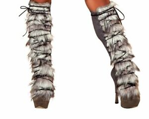 Fur-Suede-Leg-Warmer-with-Lace-up-LW4428-AS-O-S-Grey