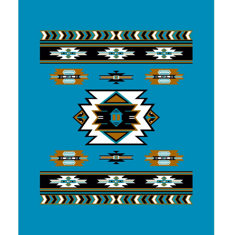 Southwest Aztec bluee 747 MIL South Queen Blanket Faux Mink