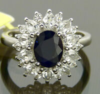 Royal Engagement Genuine Blue Sapphire & White Topaz Halo Ring Platinum / 925