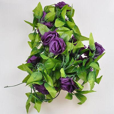 HS8 Artificial Fake Silk Rose Flower Ivy Vine Hanging Garland Wedding Home Decor