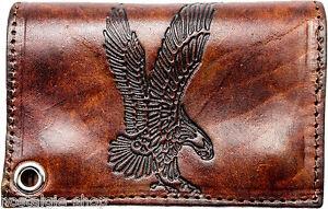 Biker Wallet Adler Punzierung Geldbörse mit Kette, Buffalo Leather, Rockabilly