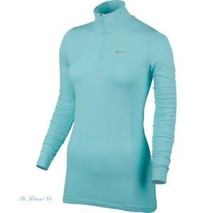 NIKE-donna-GOLF-DRIFIT-maglia-mezza-cerniera-manica-lunga-top-XL-BLU-AQUA