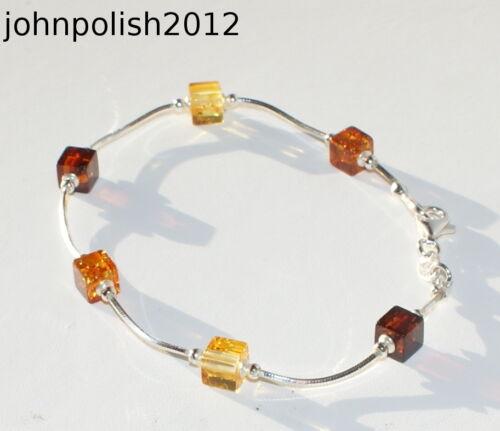 Süß Würfel Bernstein Armband Auf Silber 925