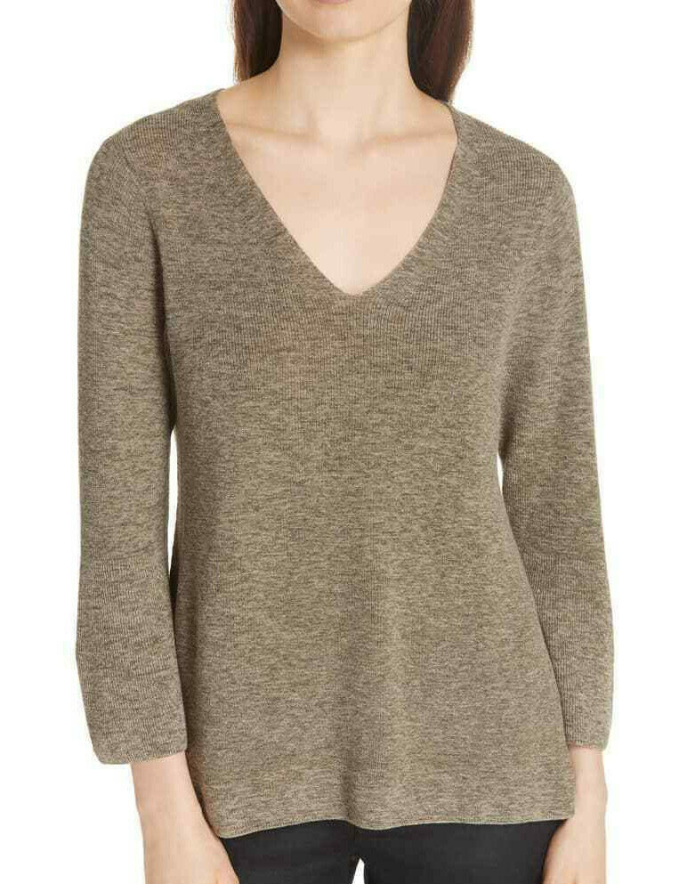 Eileen Fisher Olive Organic Cotton  Marled V-Neck Sweater Top L