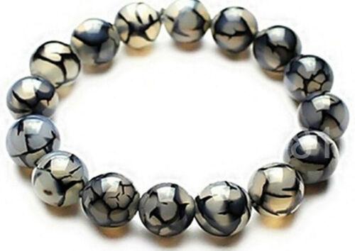 10MM Natural Black Dragon Veins Agate Round Gemstone Stretchy Bangle Bracelet