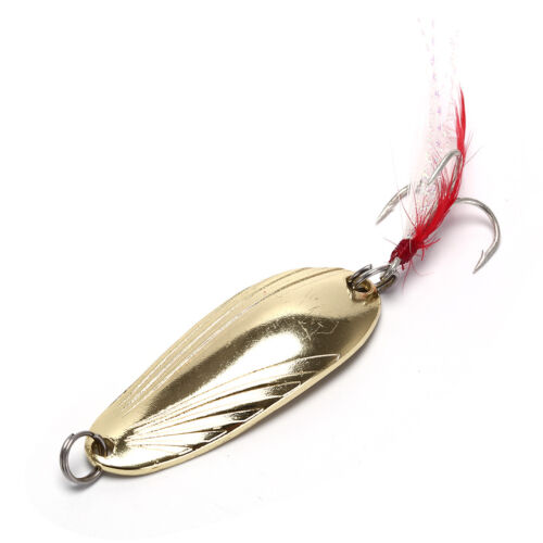 2X Fishing Spoon Lure Treble Feather Hook Spinner Baits Golden Silvery Colo X