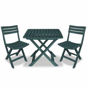 Tavolo Sedie Giardino Plastica.Vidaxl Set Da Bistro Da Giardino 3pz In Plastica Verde Tavolo