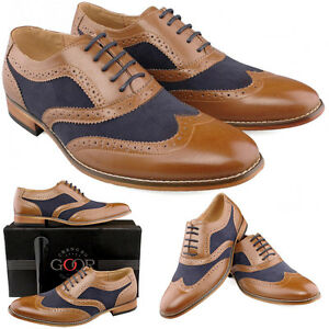 Mens Tan Gatsby Brogues Navy Lace Up Smart Wedding Suit Shoes 6 7 8