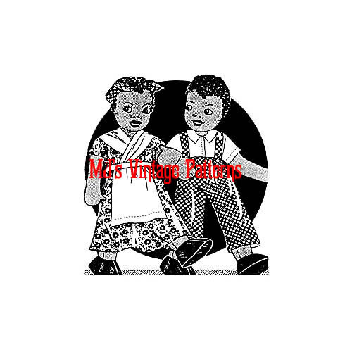 THE CUTEST African American Vintage 1940s Cloth Boy /& Girl Dolls Pattern
