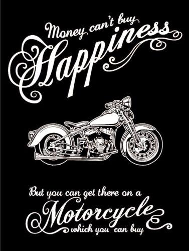 rétro en métal aluminium SIGNE VINTAGE//garage Argent Cant Buy Happiness moto