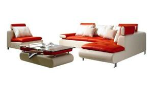 Details about Ultra Modern White Red Genuine Leather Sectional Sofa Set  3Pcs Soflex Colorado