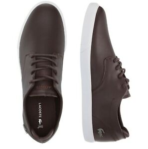 Lacoste-Men-Shoes-Esparre-BL-1-Brown-White-Leather-Casual-Sneakers-NEW
