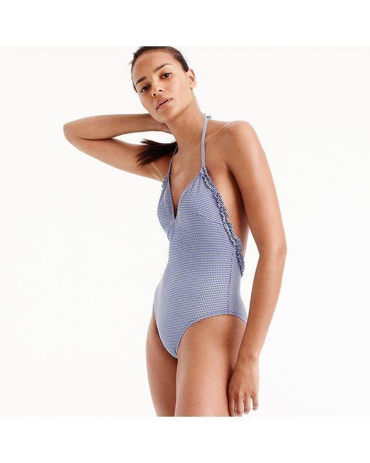 J Crew Women's Ruffle Halter one-piece Swimsuit tiny gingham bluee sz 8 New