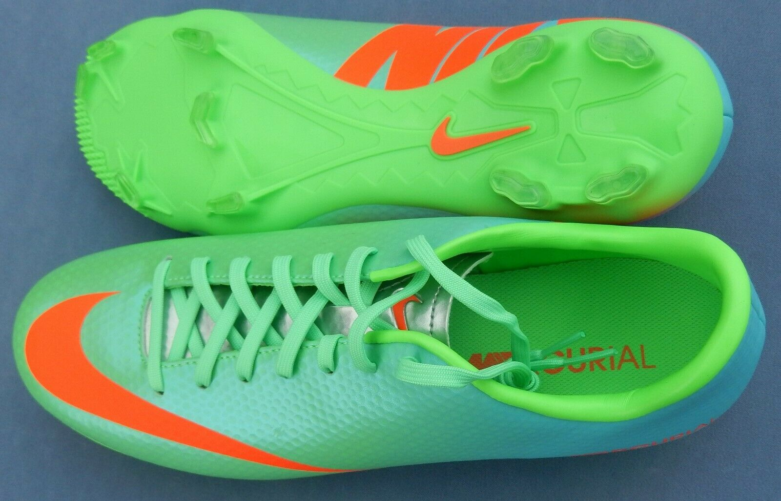 NIKE MERCURIAL VICTORY IV FG MENS SOCCER CLEATS GREEN orange blueE 555613-380