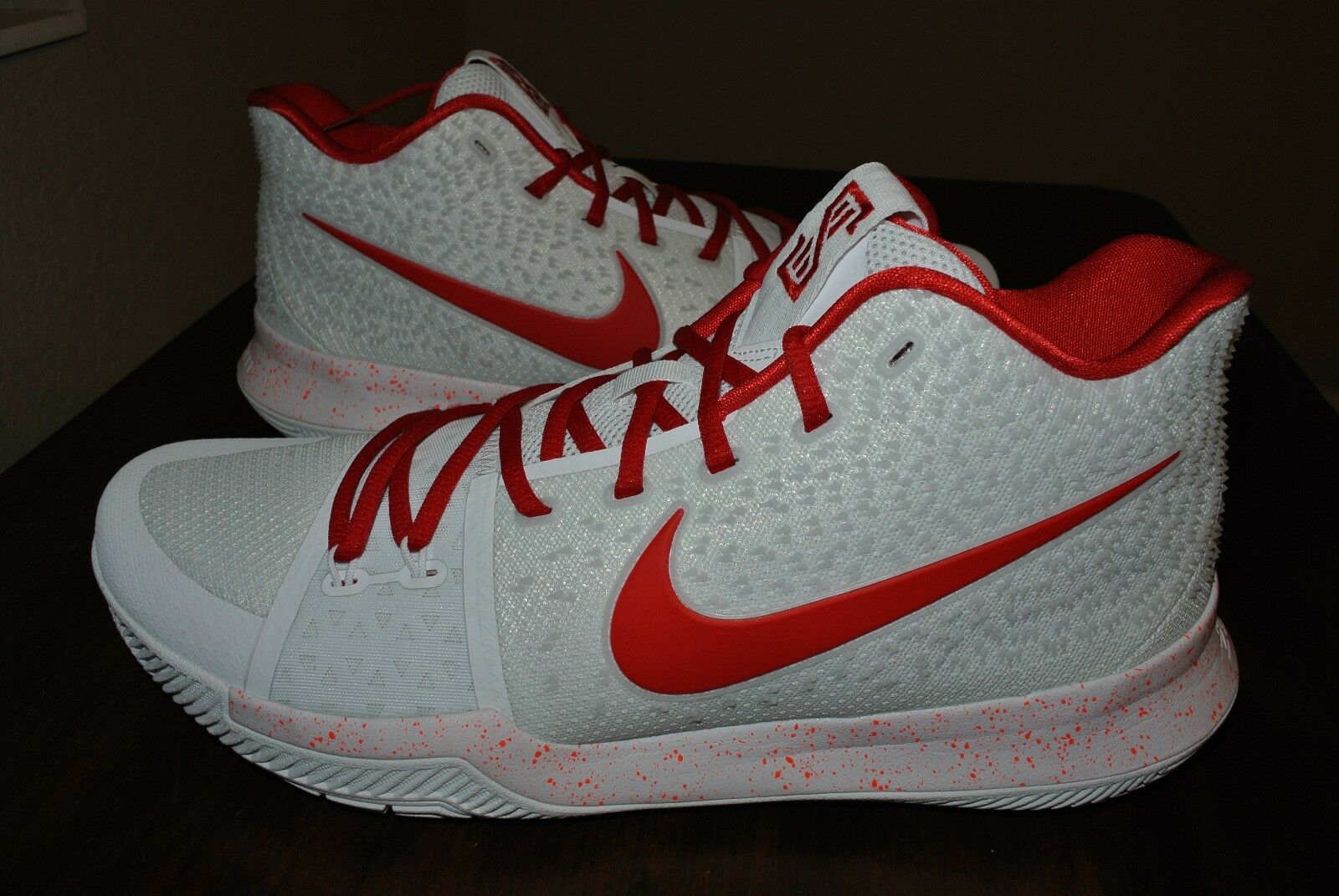 NIKE KYRIE 3 iD WHITE RED RARE AQ8767 991 US MENS SHOE SIZE 13.5 The latest discount shoes for men and women