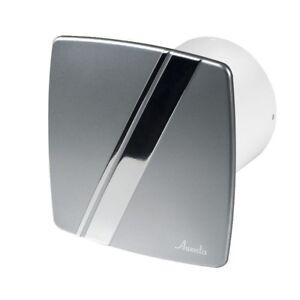 Badezimmer Sauglüfter 100mm mit Zugschalter und Satin//Chrom Panel