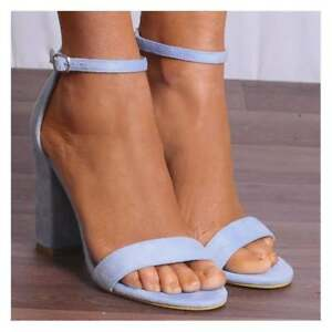 87a668ecad Image is loading LIGHT-BLUE-BLOCK-ANKLE-STRAP-HEELED-STRAPPY-SANDALS-
