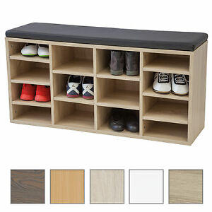 schuhschrank vincent mit sitzkissen 104cm farbe w hlbar schuhregal sitzbank ebay. Black Bedroom Furniture Sets. Home Design Ideas
