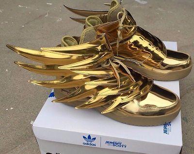 ADIDAS JEREMY SCOTT WINGS 3.0 oro metálico Batman zapatos talla 4 14 100% Auténticas | eBay