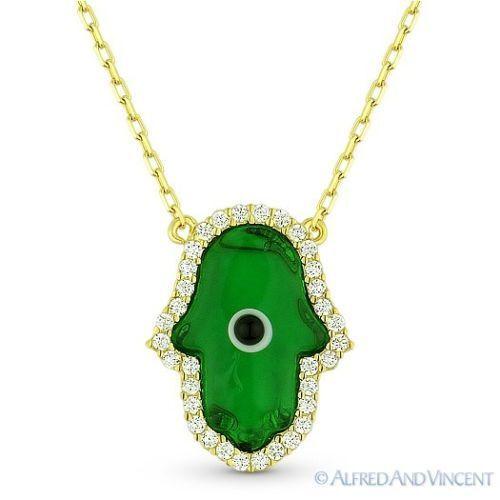 Hamsa Hand of Fatima Evil Eye Jewish Luck Charm Pendant Necklace Sterling Silver