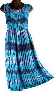 316f4e67078 Image is loading Blue-Purple-Tie-Dye-Sleeveless-Sundress-Ocean-Breeze-