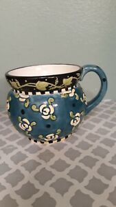 Vintage-Mary-engelbreit-Coffee-Cup-1997-Blue-Teal-Green-Black-flowers