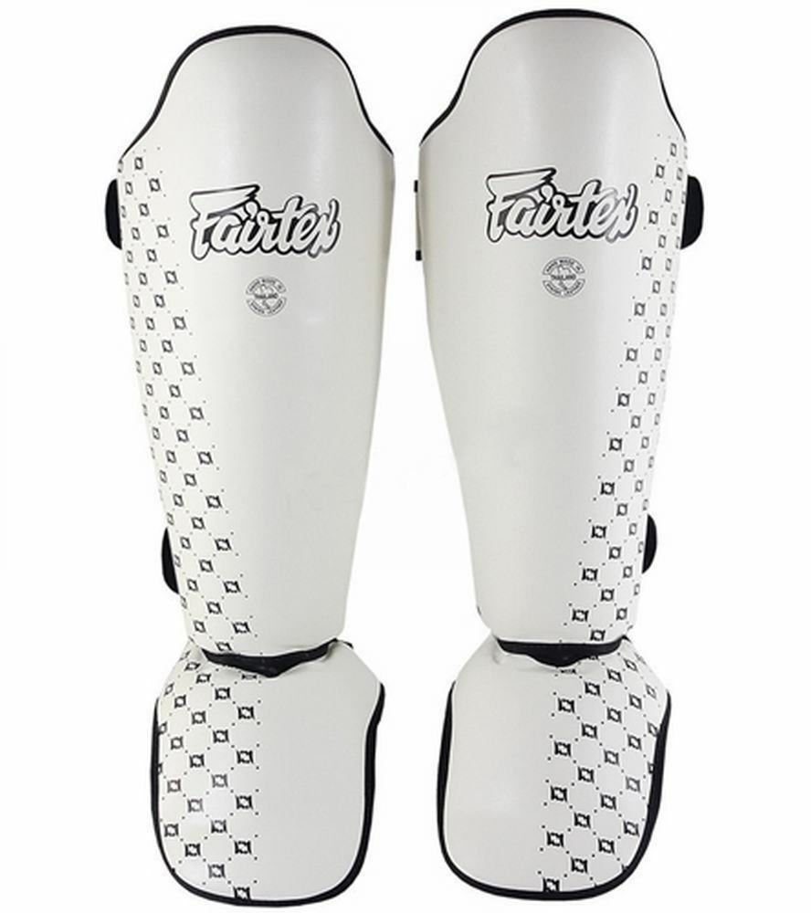 FAIRTEX SP5 WHITE COMPETITION MUAY THAI BOXING K1 DETACHABLE SHIN PAD GUARDS