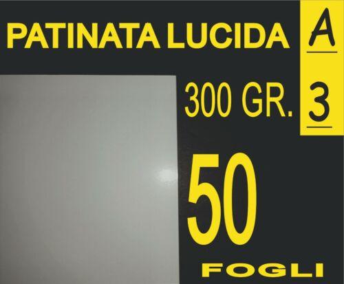 50 FOGLI CARTA GR 300 FOTOGRAFICA LUCIDA X STAMPANTI LASER CARPETTE  A3