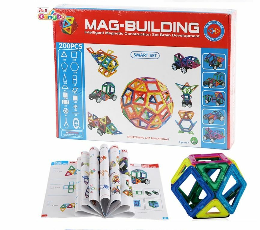 HUGE MAGNETIC BUILDING 200 PCE SMARTSET MAGNETIC EDUCATIONAL CONSTRUCTION TOY