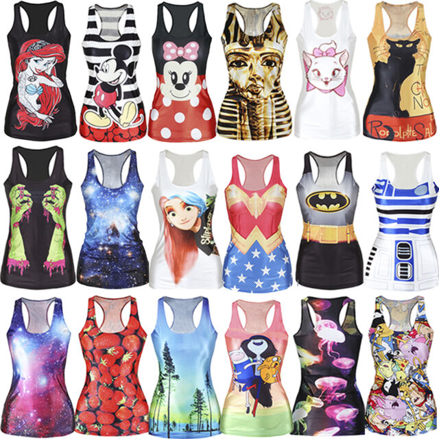 2016 New Sexy Women Graphic Print Gothic Top Fancy Dress Vest Tank Party Club