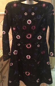 d88d7e79de NWT Gianni Bini Crew Black With Floral Beaded Embroidered Dress Size ...