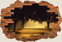3D Hole in Wall Misty Morning Sunrise View Wall Stickers Art Decal Wallpaper S16